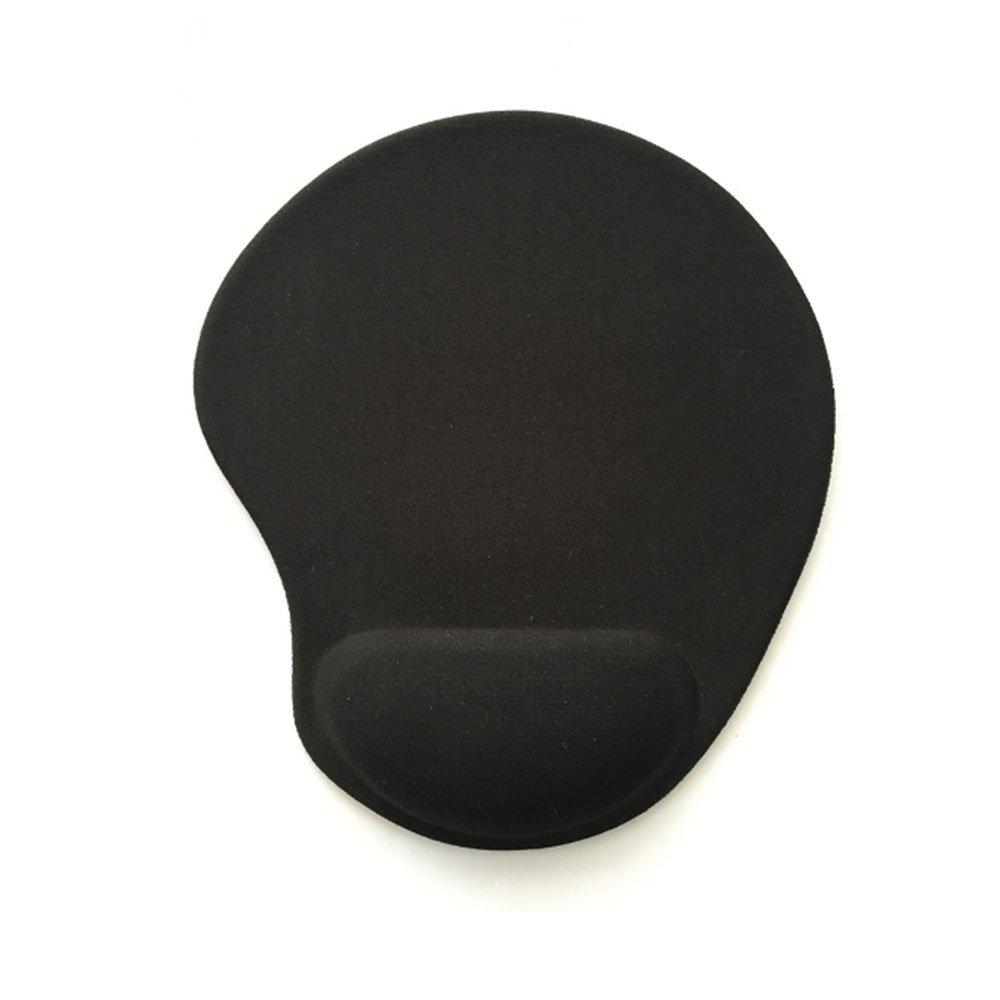 マウスパッド 光学式マウス 低反発リストレスト付き リストレスト一体型 疲労軽減 イプ ブラック (ブラック)