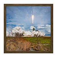 Space X CRS-11 Mission Rocket Launch SpX-11 Square Wooden Framed Wall Art Print Picture 16X16 Inch スペースロケット木材壁画像