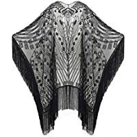 BABEYOND 1920s Sequin Beaded Shawl Wraps Fringed Evening Cape Scarf for Wedding
