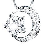 「 星と月 ネックレス 」LOTUS ネックレス レディース スター ネックレス シルバー ネックレス ペンダント ネックレス ムーン ネックレス CZダイヤモンド チェーンの無段階長さ調整