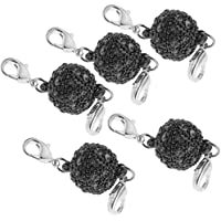 HOMYL 5 Piece Magnetic Clasps Jewelry Round Magnetic Clasps with Rhinestone Paved for Bracelet Necklace Making