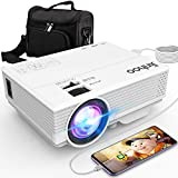 Jinhoo Latest Technology to Phone Projector, Mini Video Projector with 3800 LUX, Synchronize Smartphone Screen, 1080P Supported, Compatible with TV Stick, HDMI, USB, VGA, AV [with Projector Case]