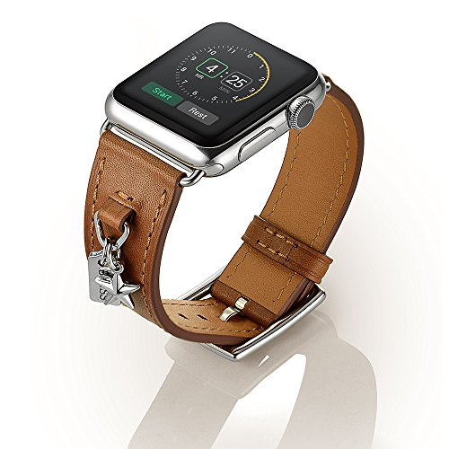 EloBeth Apple Watch バンド 本革ベルトレザー スマートウォッチ for Apple Watch 38mm用 42mm用 アップルウォッチ用 交換バンド Apple Watch Series 2 Single Tour 時計バンド 腕時計ストラップ (38mm, 飾り付属品 ブラウン)