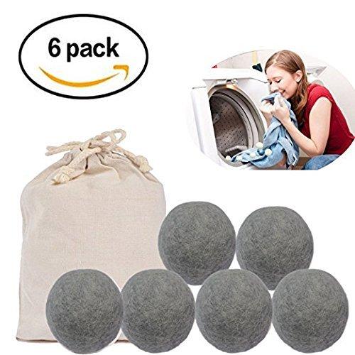 ドライヤーボール Umitech 乾燥機用 ウールボール ニュージーランド製天然羊毛100% 洗濯ボール 特大サイズ(7cm)静電気防止 乾燥の時間を短縮できる 6個入り (6グレー)