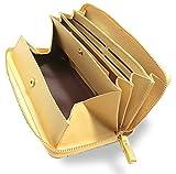 Morina 牛革 長財布 ラウンドファスナー ギャルソンウォレット 大きく開く 小銭入れ (ゴールド)