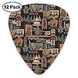 Native Tents Bear ピック ギターピック 12個入り それぞれ厚さ カラフル ピックケース付き 12枚セット 多種多色Thin 0.46mm、Medium 0.71mm、Heavy 0.96mm 各4枚 ティアドロップピック