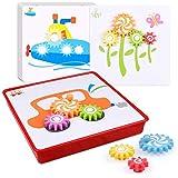 D-FantiX 知育玩具 ギア おもちゃ 幼児 パズル 形合わせ 12枚の絵 歯車 ボード 子供おもちゃ Spinning Gear Puzzle