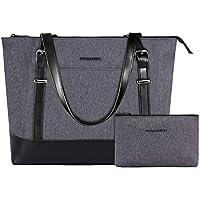 KROSER Laptop Tote Bag 15.6 Inch Large Shoulder Bag Lightweight Water-Repellent Women Stylish Handbag for Work/Business/School/College/Travel-Grey