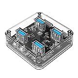 51IN6BOypiL. SL160 - 【ガジェット】ORICO USB3.0 Transparent Desktop HUB (MH4U-U3)レビュー!スケルトンのかっこいいやつ!デスクトップに1個あると何かと便利なアイツがやってきた!【スケスケボディ】