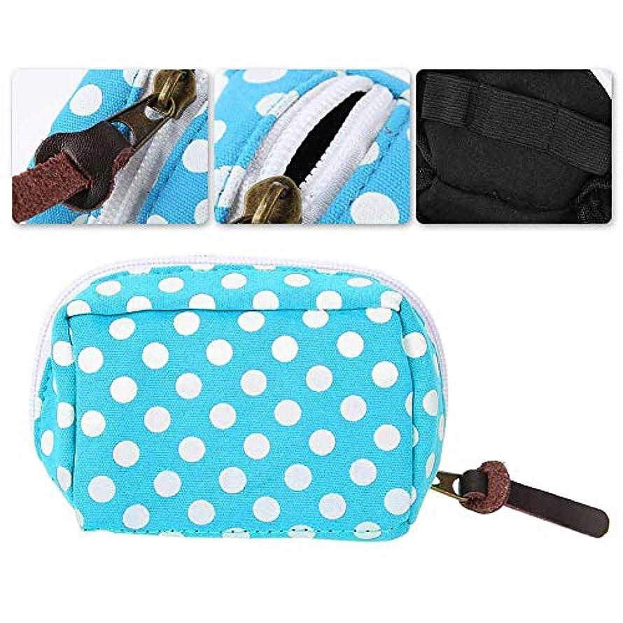 共同選択即席収容するエッセンシャルオイルバッグ、ローラーボトル用防水6スロットポータブルハードシェルバッグオーガナイザーケース、エッセンシャルオイルボトルストレージオーガナイザーコンテナーバッグ(青+白)