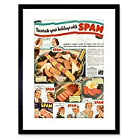 Ad Food Kitchen Spam Meat Photo Framed Wall Art Print