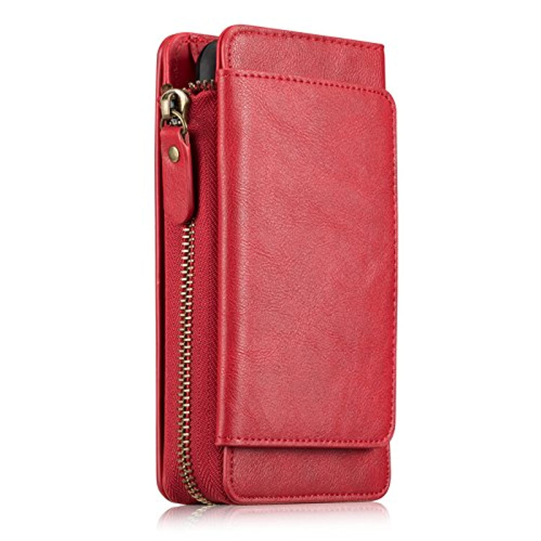 iPhone XS MAX ケース 財布型、SIMPLE DO 保護ケース 分離可能 商務用 人気 おしゃれ 全面保護 衝撃吸収 カード収納可能 専用カバー 収納力抜群 スマホケース iPhone XS MAX対応(レッド)