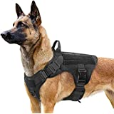Rabbitgoo Tactical Dog Harness Vest Large with Handle, Military Working Dog Molle Vest with Metal Buckles & Loop Panels, No-Pull Adjustable Training Harness with Leash Clips for Walking Hiking Hunting, Black, Medium