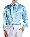 ds5096 メンズ シャツ ワイシャツ Yシャツ ドレスシャツ 舞台 ステージ衣装 シャイニー 光沢 フリル スカイ(39)