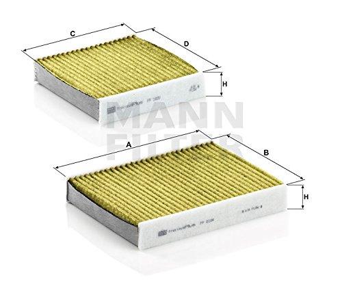 MANN 高性能エアコンフィルター (プジョー/207) FP 21 000-2 フレシャスプラス ※2個1セット (A75FW A75FEP A75FX A75FY 2007/03-) (A75F01 2009/10- ※オートAC)
