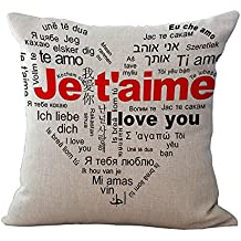 """Throw Pillow Covers Decorative Pillow Cases 18 x 18"""" for Couch Cushion Pillows, Romantic Variety of Languages I Love You Home Decor Valentine's Day Gift"""