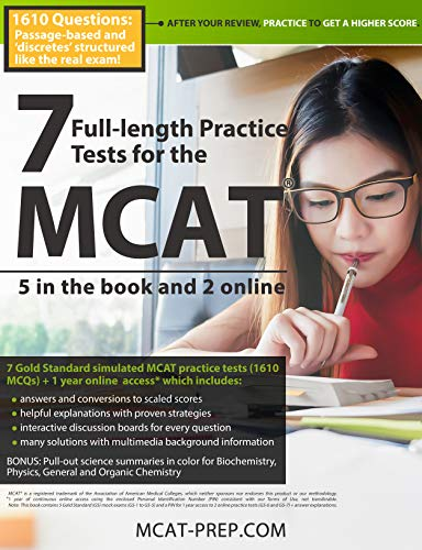 Download 7 Full-Length Practice Tests for the MCAT - 5 in the Book and 2 Online: 1610 Questions: Passage-based and 'discetes' structured like the real exam! 1927338441