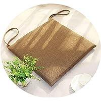 リネンオフィスの畳のクッションマット夏の通気性のシンプルな家庭食卓のクッション,(スクエア)ウォッシャブル/ライトコーヒーカラー,直径40*40*厚4cm