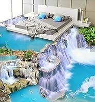 C620 巨大 3D フロアマット 1.45m*3m* 和モダン 形成池 鯉 滝 風景 景色 リフォーム 防音 断熱 滑り止めシート 床 壁 天井 はがせるシール