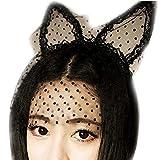 Spinas(スピナス) レディース 猫耳 クラシカル カチューシャ 猫 変身 かわいいチュール レース コスプレ ハロウィン 仮装 目立つ クラシカル ゴスロリ 全2型(猫 うさぎ) (猫)