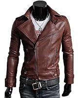 【ノーブランド品】ワイルドな男気溢れる ライダースジャケット フェイクレザー #T851