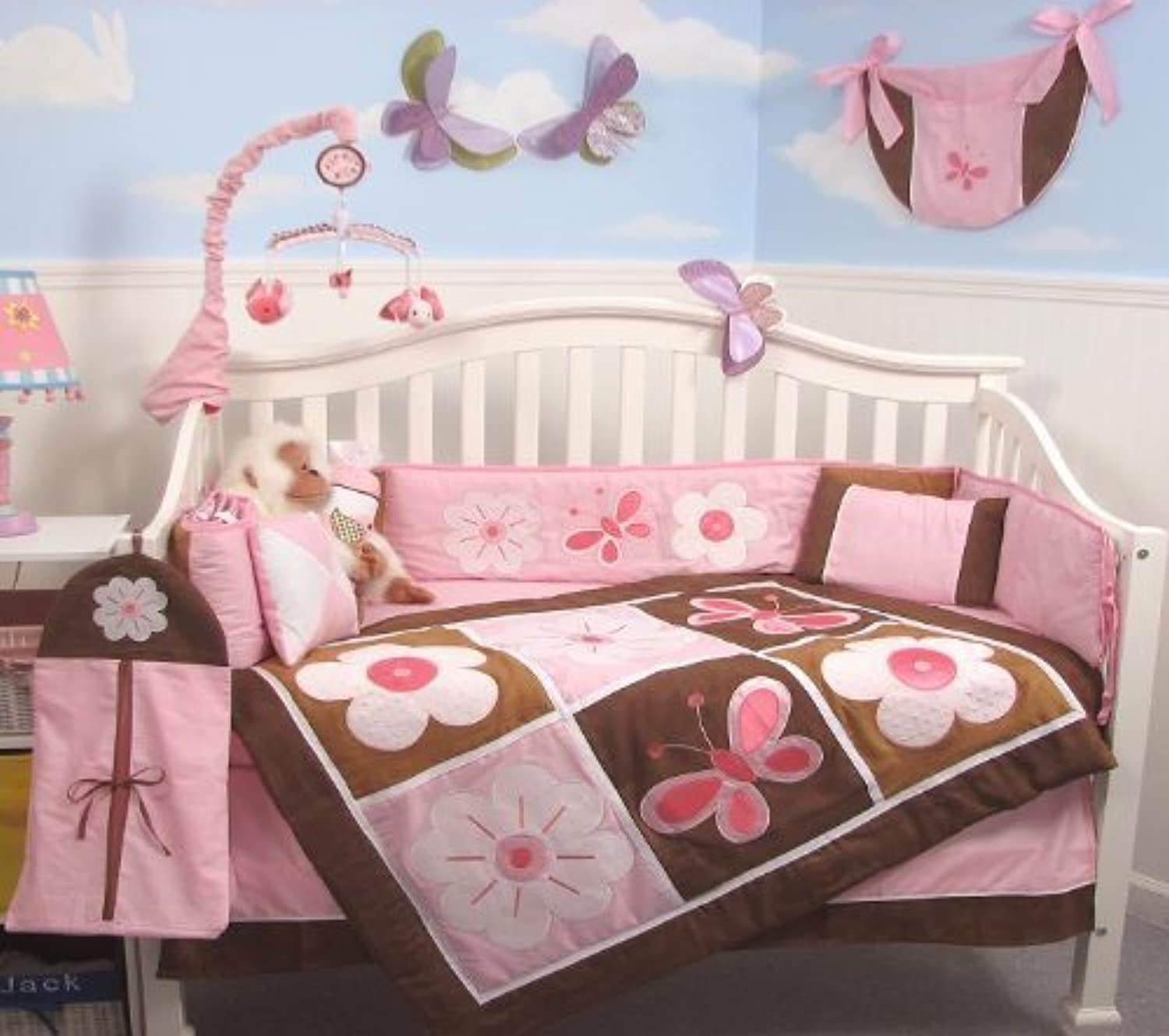 SoHo Pink and Brown Floral Garden Baby Crib Nursery Bedding Set 13 pcs included Diaper Bag with Changing Pad & Bottle Case by SoHo Designs