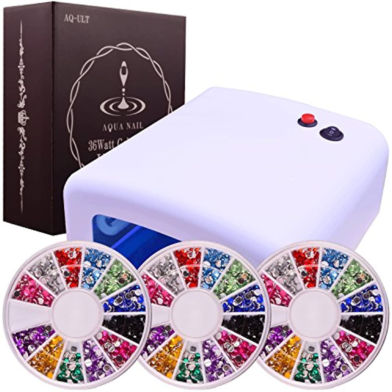 ミント石直立UVライト 36W (白) ネイル レジン アクリルストーン 12色3サイズセット 本体+電球4本付 安心3ヶ月保証 日本語説明書付AQUA NAIL(ホワイト)