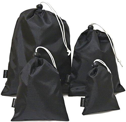 収納袋 巾着袋 小物入れ ポーチ 撥水加工 アウトドア 装備品 小物 収納 (4サイズセット)