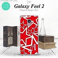 SC-02L Galaxy Feel2 スマホケース カバー 星 赤×白 【対応機種:Galaxy Feel2 SC-02L】【アルファベット [L]】