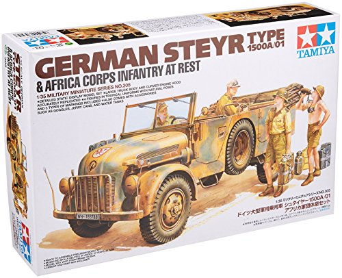 1/35 ミリタリーミニチュアシリーズ No.305 1/35 ドイツ 大型軍用乗用車 シュタイヤー 1500A/01 アフリカ軍団休息セット 35305