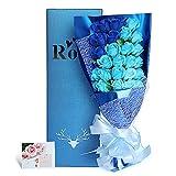 造花 フレグランス ソープ フラワー プレゼント 花束 石鹸 薔薇 枯れない 花 バラ ブーケ 結婚祝い 誕生日 母の日 父の日 定年祝い 還暦祝い 新築祝い 送別会 メッセージカード,33本 (2色の青) Yobansa