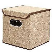 収納ラック ポータブル綿の衣類収納ボックス収納ボックスステンレス製の事務用品、ファイルストレージボックス デスクブックシェルフ (色 : Natural, サイズ : S(25*25*25cm))