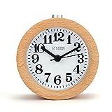 Saniki 木質 目覚まし時計 連続秒針 置き時計 アラームクロック ライト付き スヌーズ 丸型 ナチュラル風