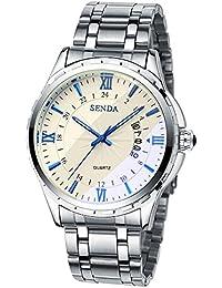 Smalodyメンズ時計トップブランドの高級男性の腕時計ステンレス鋼のディスプレイカレンダーファッションクォーツ時計ビジネスのメンズファッションクォーツ時計 (ブルー)