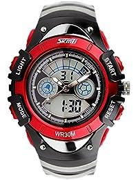 5 色 キッズ 子供 用 ダイバーズ LED ライト 多機能 腕 時計 デジアナ 防水 ストップ ウォッチ スポーツ アウトドア (レッド)