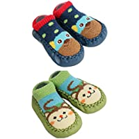 2 Pairs of Baby Boys Girls Fleece Non-Slip Slippers Socks 12-24 Months (Blue)
