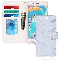 iPhone8 ケース iphone7ケース,FYY [RFIDブロッキング] ハンドメイド PUレザー 手帳型ケース 大理石柄 マーブル模様 二つ折り カードホルダー ストラップ付き スタンド機能 マグネット開閉 保護カバー iPhone 8/7 兼用 パープル