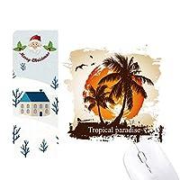 ビーチに椰子の木のパターンのイラスト サンタクロース家屋ゴムのマウスパッド