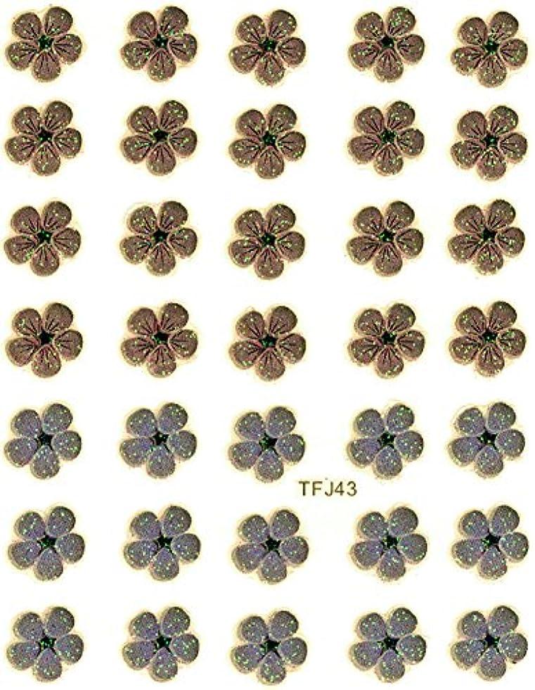 インカ帝国汚れた再撮り押し花 ネイルシール 花柄 選べる48種パッケージ入り (F43)
