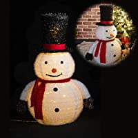クリスマス 飾り H77cm「フォールディングデコレーション スノーマン」たためるライト 光る置物 店舗 装飾 デコレーション サンタクロース 看板 集客 イベント