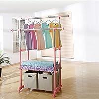 XRXY ダブルポールフロアリングコートラック/実用的な折り畳み式衣服ラック/調節可能な室内バルコニーハンガー/大容量衣類収納ラック(3色展開可能) ( 色 : ピンク ぴんく , サイズ さいず : B )