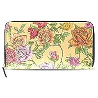MASSIKOA Floral Roses PU Leather Long Wallets Zipper Clutch Ladies Purse Wallet for Women Girl
