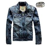 (K-JOY) メンズ デニムジャケット ライダース Gジャン ma1 jacket ヴィンテージ風 クラッシュ 367-2 (L)