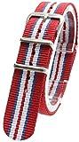 ( レッド/ブルー/ホワイト 20mm ) NATOタイプ 時計ベルト 腕時計ベルト ナイロン 2PiS 交換マニュアル付