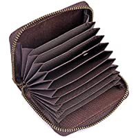 Leather Credit Card Holder RFID Blocking Front Pocket Wallet Coin Pocket Purse for Men Women