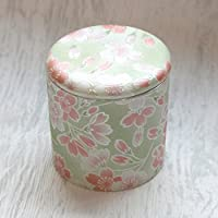 ミニ骨壷2寸 桜ころも シリコンパッキン付分骨用骨壷 (グリーン)