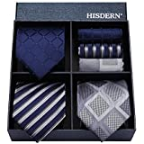 HISDERN(ヒスデン) ブランド品 ネクタイ チーフ 3本セット 高級 ギフトボックス付き 20柄物 ビジネス 結婚式 父の日 プレゼント TA3-01S