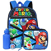 Super Mario 5-Piece Backpack Set - red/Blue, one Size