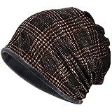 KISSTYLE ニット帽子 メンズ レディース 冬用 ワッチ 防寒 ビーニー コーデュロイ チェック(ブロンズブラック)