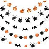 Kingsie ハロウィン ガーランド 飾り付け ペーパーガーランド バナー かぼちゃ コウモリ くも スパイダー 装飾 壁飾り デコレーション (5枚セット)
